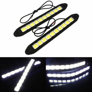 2x  20W Waterproof LED 12V Daytime Running Light DRL COB Strip Lamp Fog Car