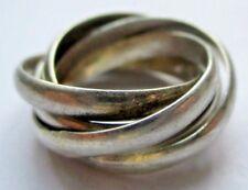 Bague en argent pur Semainier 5 anneaux enchevêtrés bijou vintage original 5029