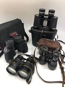 Joblot vintage binoculars Bull-Dog/Lumiere/Boots Admiral/Tasco In Focus untested