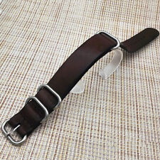 111db14fa9e Mens Genuine Leather Army Military Watch Strap Band 18 20 22mm Black Brown