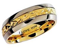 Engraved ''I Love You'' Gold GP Titanium 7mm  Wedding Engagement Band Ring