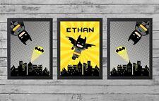 SUPERHERO BATMAN Set of 3 Personalised Child Bedroom / Nursery Prints (UNFRAMED)