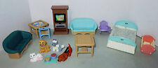 Fisher-Price Loving Family Lot Dollhouse Furniture 1993 Bed TV Sofas Table Chair