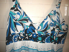 Target Free Fusion 12 Blue White Floral Sheer Light Cotton Lined Beach Sun Dress