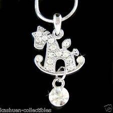 Baby Riding Rocking Horse Pony made with Swarovski Crystal Rocker Chain Necklace