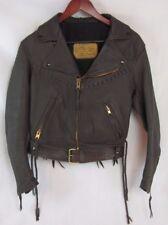 Custom WALTER LEATHER CO Brown Leather Fringe Sturgis Biker Jacket - Women's M