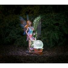 More details for solar powered garden fairy wind chime garden decor with light outdoor