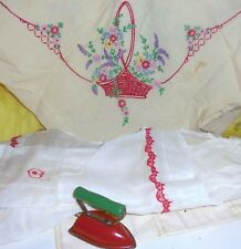 Vintage Embroidered Fabric Organdy Apron Toy Iron Red And White Lot