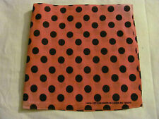 100% COTTON BANDANA WITH BLACK DOTS PRINTS IN PINK BANDANNA, HANDKERCHIEF SCARF