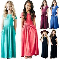 Toddler Kids Girls Solid Maxi Dress Short Sleeve Summer Holiday Beach Sundress