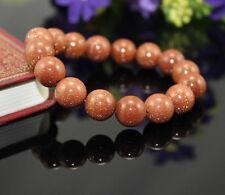 new 10mm Gemstone Gold Sand Stone Beads Woman Man jewelry Bracelet 7.5''