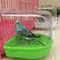 Clean Parrot Bird Bathtub Box Bird Bath Shower Standing Wash Cage Hanging F5V8
