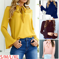 Womens Long Sleeve Solid color Jumper Tops Ladies Loose Casual Pullover Blouse