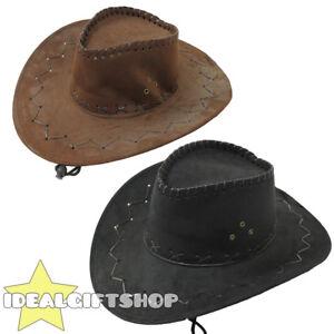 FAUX SUEDE COWBOY HAT BLACK BROWN COWGIRL ADULTS WESTERN WILD WEST FANCY DRESS