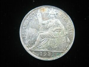 FRENCH INDOCHINA 20 CENTS 1937 SILVER LAOS CAMBODIA VIETNAM SHARP 30# COIN