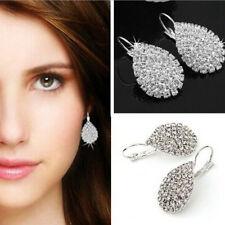 1pair Silver Full Crystal Rhinestone Teardrop Dangle Hoop Earrings Women Jewelry