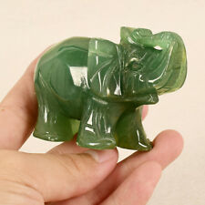 Green Hand Carved Lucky Elephant Animal Statue Jade Stone Rocks Ornaments Decor