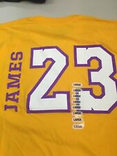 67f80ae888b LEBRON JAMES  23 LOS ANGELES LAKERS YELLOW LARGE NBA TEE SHIRT FREE SHIPPING