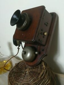 Antique Crank Wall Mounted Telephone w/ UNIQUE WOODEN DIAPHRAGM MICROPHONE