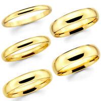 Solid 10K Yellow Gold Men & Women Plain Wedding Bands 3mm to 6mm