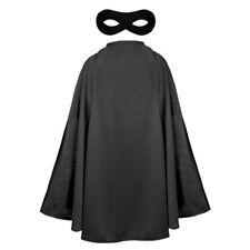 Negro Capa Y Máscara CHILDS NIÑOS SUPERHÉROE Fancy Dress Costume Unisex héroe de la película