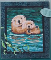 Sea Otters - raw edge applique wall quilt PATTERN - Toni Whitney