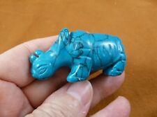 (Y-Rhi-730) blue Rhino rhinoceros gemstone Figurine carving love baby rhinos