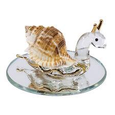 "Hand Blown Glass Snail Figurine On Beveled Glass Base 3.25"" Long New!"