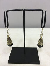 Earrings Black Onyx Crystal Dangle Etched Silver Teardrop Earrings E153