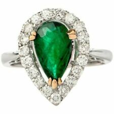 19.78 Carat Cubic Zirconia Pear Emerald Halo Engagement Ring 925 Sterling Silver