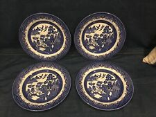 "4 Churchill Blue Willow Staffordshire England Dinner Plates 10-1/4"" EUC"