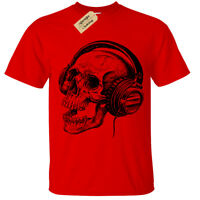 Skull Headphones SCREEN PRINTED Mens T Shirt S-5XL band skeleton music retro