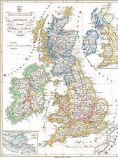 Genuine 172 Old Map Britain 1066 England Wales Scotland Ireland 1846