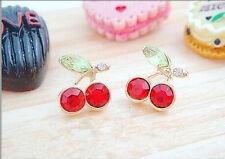 red rhinestone Cherry Crystal Studs Earrings retro vintage trendy UK stud gift