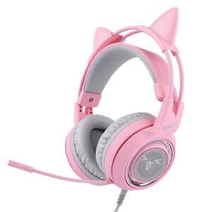 Pink Gaming Headset mit Mic Girls Frauen Katzenohr Kopfhörer für SOMIC G951S