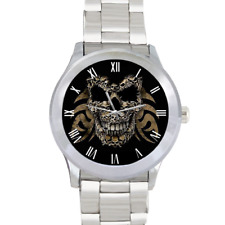 Skull Built of Skulls Gothic Evil Men's Stainless Steel Wrist Watch Quartz