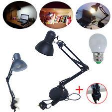 UK Black LED Desk Lamp Reading Craft Bedside Table Light + E27 Daylight LED Bulb