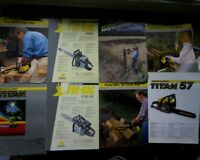 Vintage McCulloch chain saw sales brochures, Pro-Mac 8200, 5700-20, Titan 57 50