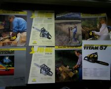 Vintage McCulloch chain saw sales brochures, Pro-Mac 8200, 5700-20, Titan 57 50