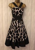 Karen Millen Giraffe Print Flare Party Black Strappy Cocktail Evening Dress 8 36