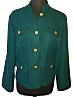Chicos Jacket Sz 2 Casual Military Tweed Green NWT Pockets Lined Mandarin Collar