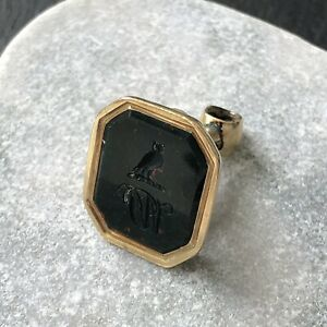 Antique Victorian Gold Cased Bloodstone Seal Intaglio of Own and Initial