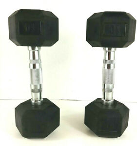 10 LB Dumbbell Rubber Coated Hex Dumbbells Weights Pair 20 Lbs Total