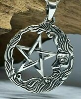 "Pentagram Moon Pendant 18"" Chain 925 Sterling Silver Celtic Pagan Wiccan Boxed"