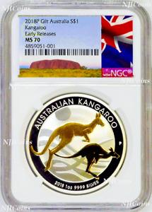 2018 P Australia GILDED Silver Kangaroo NGC MS 70 1oz Coin w/OGP gilt ER-A LABEL