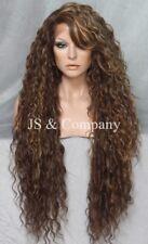 "38"" Long Human Hair Blend Lace Front Wig wavy Heat OK Brown Carmel Blonde WESP"