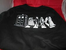 Mens Dr Doctor Who Fleece Beatles Abby Road Sweater Tardis Shirt M Long sleeve