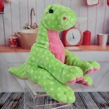 "8"" Ty Pluffies Stomps Green White Polka Dot Dinosaur Plush Beanie Babies Shell"