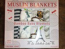 New 4pk 100% Bamboo Muslin Blanket by La Libellule Bebe 43x43 FREE FAST SHIP