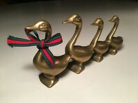 Vintage Decorative Brass Figurine Paperweight Marching Geese Ducks In A Row